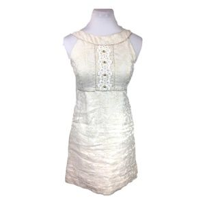 Lilly Pulitzer Sz 2 White gold brocade shift dress
